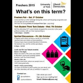 Designed flyer for University of York Lib Dems